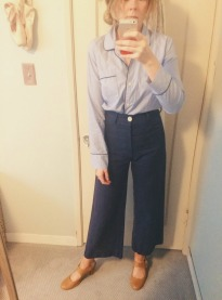 j.crew pajama top, jesse kamm pants, vintage shoes.