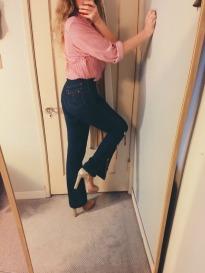 vintage shirt, vintage jeans, miu miu glitter mary janes.
