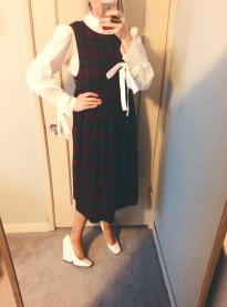 isabel marant blouse, vintage laura ashley dress, celine shoes.