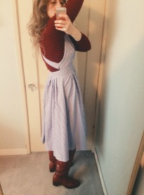 thrifted turtleneck & apron dress, vintage frye boots.