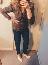 vintage blazer, vintage stirrup jeans & celine shoes.