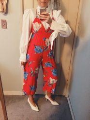 isabel marant blouse, forever 21 jumpsuit, celine heels.