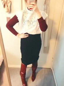 vintage striped turtleneck, isabel marant blouse, vintage issey miyake skirt, zara boots.