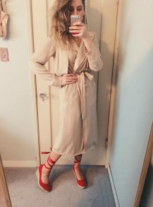 forever 21 trench coat, thrifted red espadrilles.