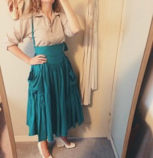 vintage gap shirt, vintage norma kamali skirt, celine shoes.