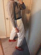 balenciaga neoprene top, vintage gucci belt, vintage cherokee pants, maryam nassir zadeh shoes.