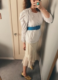 zara top, vintage belt, zara skirt, celine shoes.