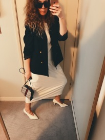 vintage ysl blazer, vintage dress, vintage gucci bag, ray ban shades, celine shoes.