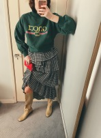 faux gucci sweatshirt, isa arfen skirt, vintage clutch, maryam nassir zadeh boots.