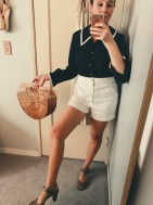 vintage blouse, shorts & heels all thrifted, vintage bag bought by my husband at a car show flea market.