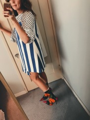 jacquemus dress, zara polka dot top, balenciaga knife boots.
