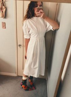 h&m faux celine dress, balenciaga knife boots.