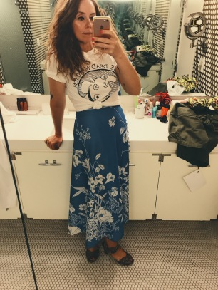 vintage dead milkmen shirt, wrap skirt & shoes.
