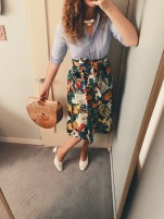 vintage button down, vintage bag, j. crew skirt, maryam nassir zadeh shoes.