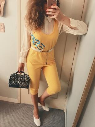 vintage celine silk blouse, vintage esprit jumpsuit, vintage jelly bag, maryam nassir zadeh shoes.