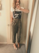 vintage joy division shirt, vintage high trousers, h&m velvet mules.