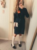 topshop turtleneck bodysuit, vintage suspender skirt, vintage gucci bag, target knee socks, h&m velvet loafers.