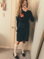 topshop turtleneck bodysuit, vintage suspender skirt, vintage gucci bag, target knee socks, h&m velvet loafers.