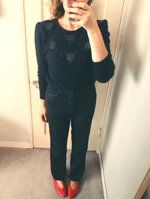 vintage sweater & jeans, zara glove shoes.