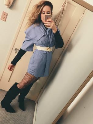 topshop turtleneck bodysuit, jacquemus dress, vintage belt, wolford tights, asos boots.