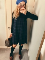 american apparel beret, topshop turtleneck bodysuit, vintage pendleton skirt worn as a dress, vintage louis vuitton speedy bag, target knee socks, vintage loafers.