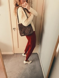 vintage cable knit sweater, bustier, bag & check print stirrup pants, celine shoes.