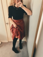 vintage sweater, vintage tartan prairie skirt, target over the knee boots.