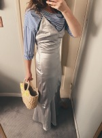 celine top, h&m slip dress, vintage wicker tote.