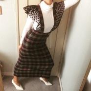 paskal pinafore dress, thrifted turtleneck, celine shoes.