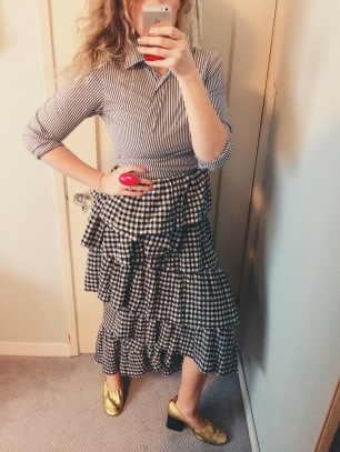 thrifted wrap shirt, isa arfen skirt, celine shoes.