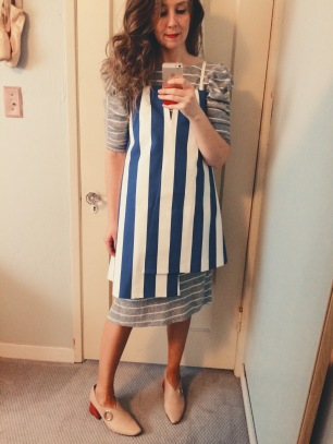vintage puff sleeve sweater dress, jacquemus blue & white striped dress, rejina pyo shoes.