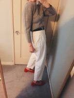 balenciaga neoprene sweatshirt, vintage gucci belt, vintage pants, maryam nassir zadeh roberta heels.