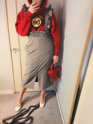 thrifted sweatshirt, h&m suspender skirt, celine shoes, vintage bag.
