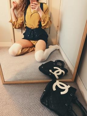 vintage laura ashley bodysuit, vintage denim suspender skirt, maryam nassir zadeh boot, chanel bag.