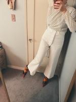 vintage polka dot wrap top, vintage navy uniform pants, balenciaga knife boots.