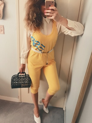 vintage celine blouse, vintage esprit jumpsuit, vintage jelly bag, maryam nassir zadeh mules.