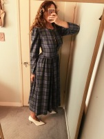 vintage laura ashley dress, celine heels.