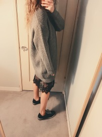 zara sweater dress, zara sneakers.