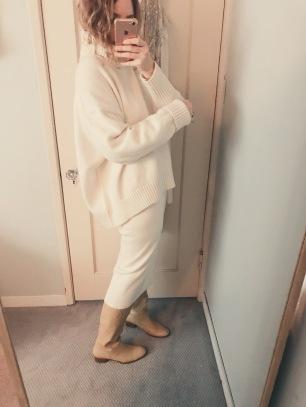 h&m sweater, mara hoffman susan skirt, maryam nassir zadeh boots.