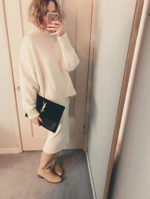 h&m sweater, mara hoffman susan skirt, maryam nassir zadeh boots, vintage ysl bag.