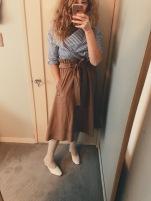 celine blouse, anthropologie paper bag waist skirt, h&m cable knit socks, maryam nassir zadeh mules.