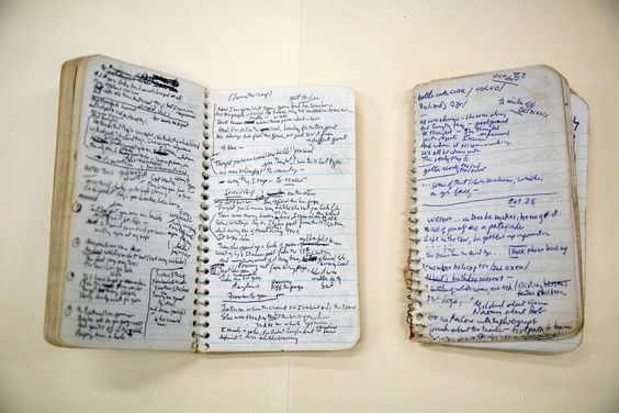 dylan's blood on the tracks notebooks (image via new york times)