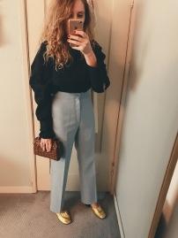 zara blouse, vintage levis pants, vintage wicker bag, celine shoes.