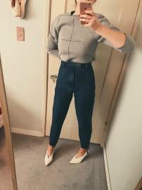 balenciaga sweatshirt, vintage stirrup jeans, celine shoes.