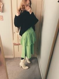 zara sweater, vintage skirt, net bag bought on amazon, vintage boots.
