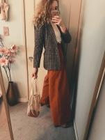 vintage blazer, vintage celine silk blouse, h&m pants, vintage snake heels, net bag from amazon.