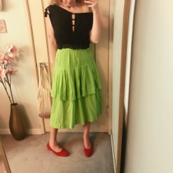 vintage norma kamali blouse, vintage skirt, maryam nassir zadeh shoes.