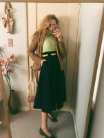 vintage eddie bauer blazer, lime green turtleneck, dvf ranch skirt, belt & pancaldi 1888 heels.