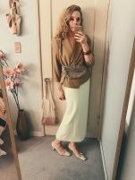 vintage wrap blazer, lime green gingham skirt, net slant kitten heels & fanny pack.