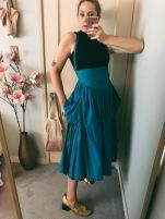 h&m crop turtleneck, vintage norma kamali skirt, celine ballet heels.